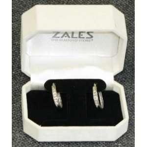 White Gold Channel Set Diamond Hoop Earrings (1/2 cttw