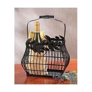 Metal Olive Leaf Design Wine Basket