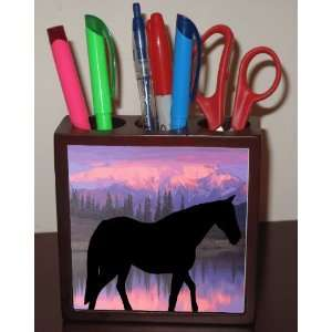Rikki KnightTM Horse Silhouette on Mountain Range Design 5