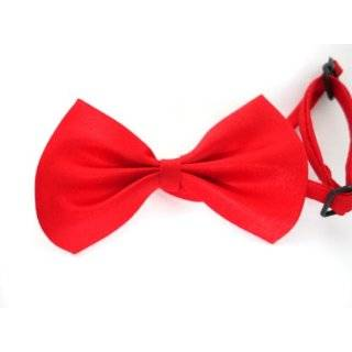 White Red Bow Tie Necktie w Adjustable Strap for Dog Pet