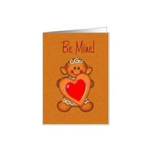 BE MINE COOKIE GIRL HEART VALENTINE Card Health