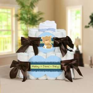 Baby Boy Teddy Bear Personalized Square   2 Tier Diaper Cake   Baby