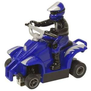 Like ATV With rider Fast Tracker Slot Car   Blue With Silver Lightning