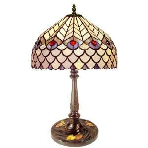 GBO1+PS16 Tiffany style Peacock Table Lamp, Amber: Home Improvement