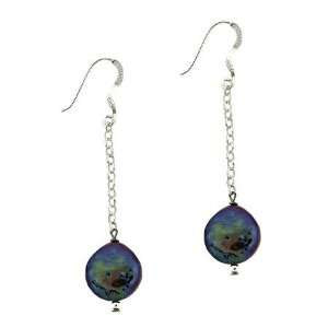 Silver .925 Genuine Freshwater Cultured Black Coin Pearl Drop Earrings