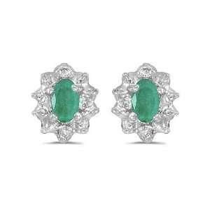 14K White Gold Oval Emerald and Diamond Earrings (.60ct TGW) Jewelry