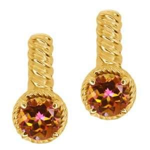 90 Ct Round Ecstasy Mystic Topaz 14k Yellow Gold Earrings Jewelry