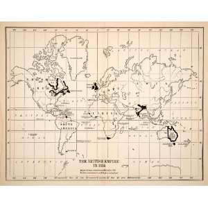 1922 Wood Engraved Map British Empire North America ope