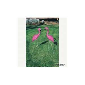 2 Large Pink Flamingo Birds Yard Ornament Garden Stakes