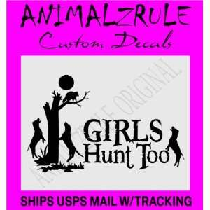GIRL COON HUNTING LARGE DECAL 12x20 BLACK