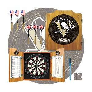 NHL Pittsburgh Penguins Dart Cabinet includes Darts and Board