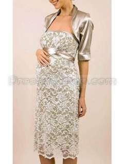 Made Knee Length Sash Hot Lace Maternity Wedding Dress with Waistcoat