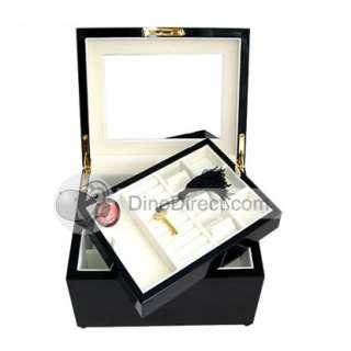 Elegant Wood Lock 2 Layers Jewelry Makeup Case   DinoDirect