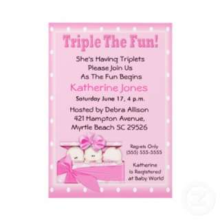 Triplet Girls Baby Shower Invitations from Zazzle