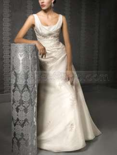 2010 Ivory Sling Scoop Neck Sleeveless Applique Pleated Wedding Dress