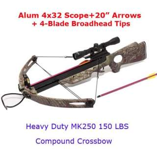 150LB Camo Compound Crossbow 4x32 Scope 8x Arrows + Broadheads
