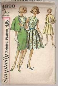 1960s VTG Simplicity Pattern BLOUSE SKIRT JACKET #4890
