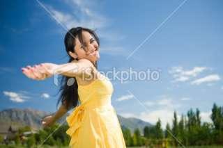 Carefree Girl Twirling Around Royalty Free Stock Photo