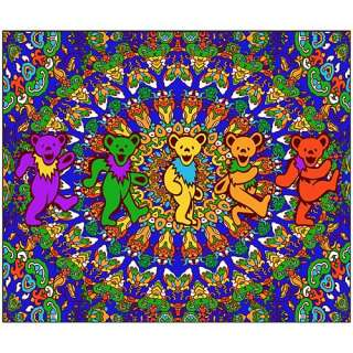 Grateful Dead Kaleidoscope Dancing Bears Fleece Blanket   Classic
