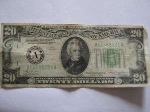 1934 Twenty Dollar Bill Federal Reserve Note A Series
