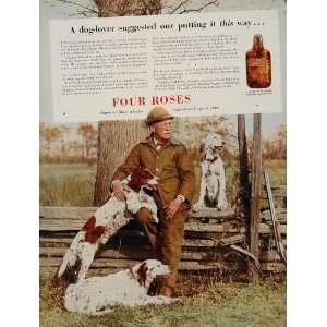 1936 Ad Four Roses Whiskey Hunter Hunting Dogs Setter   Original Print