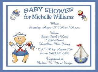 Boy Designs Personalized Baby Shower Invitations w/Envelopes