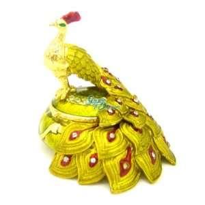 Peacock   Vintage Diamond Jewelry Trinket Box Swarovski