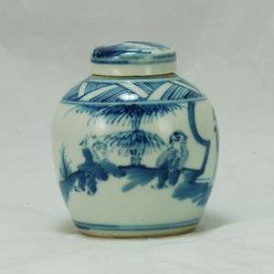 Antique Chinese Porcelain Blue White Pot / Vase / Tea Caddy