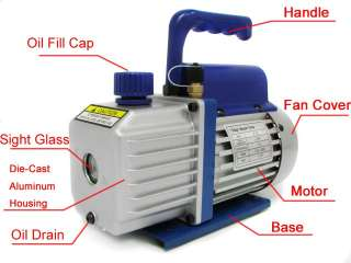 CFM Rotary Vane Deep Vacuum Pump 1 Stage A/C HVAC Air Refrigerant