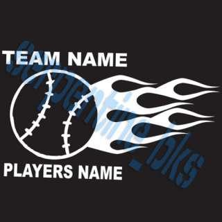 Custom Sports Flame Baseball Vinyl Decal Team sticker