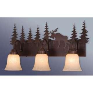 NEW 3 Light Rustic Moose Bathroom Vanity Lighting Fixture, Bronze