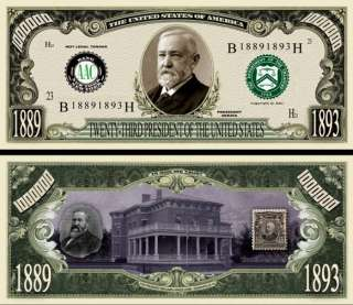 You get 2  Benjamin Harrison  Dollar Bill for only $ 1.00 plus