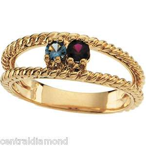 MOTHERS JEWELRY Custom 10K Gold Ring w/ 12 Birthstones