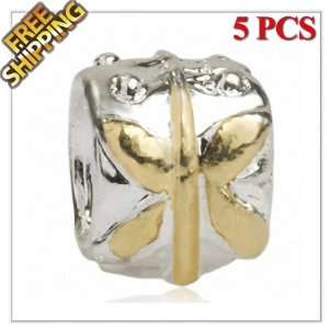1 Buy  5PCS Silver and Gold Plated Alloy Charm Beads