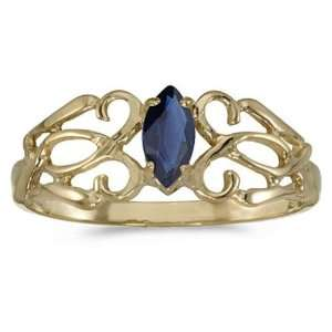 Gold September Birthstone Marquise Sapphire Filagree Ring Jewelry