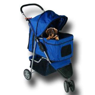 Blue Pet Dog Cat Travel Stroller Carrier 3 Wheel 812927015063