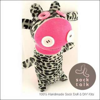 Handmade Leopard Sock Monkey Cow Stuffed Animals Doll