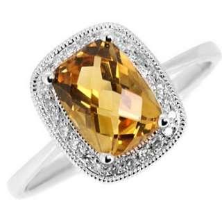 CUSHION CUT YELLOW CITRINE & DIAMOND 14K WHITE GOLD COCKTAIL