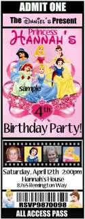 Disney PRINCESS Birthday Party Invitations  Ticket