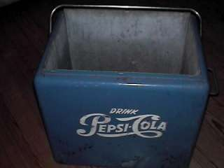 Vintage Metal Pepsi Cooler Ice Chest Blue With Tray and Bottle Opener