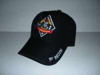 1ST RECON BN SWIFT SILENT DEADLY USMC BLACK CAP/HAT