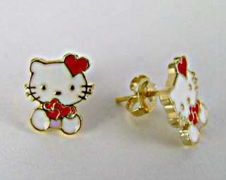 Set Earrings Gold 18k GF Hello Kitty Bracelet Infants Kids Girl