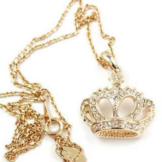 Gold GP Swarovski Crystal Crown Pendant Necklace j457