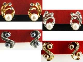 Clip On Rhinestone Hoop Earrings,XL 2 1/2 Or 65 MM
