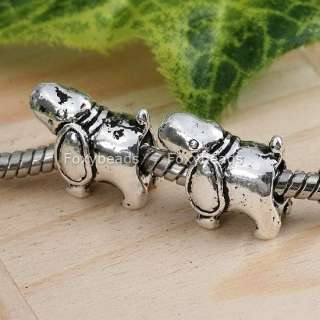 5P Tibetan Silver Big Ear Dog Large Hole European Beads