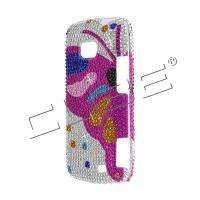 Pink BUTTERFLY Bling DIAMOND Case 4 LG ALLY VS740 Cover