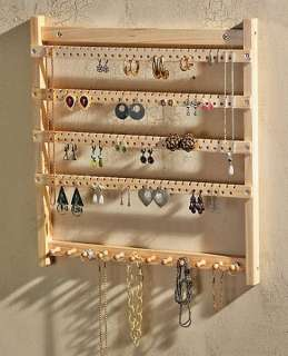 New Wood Wooden Wall Hung JEWELRY DISPLAY STORAGE RACK necklace
