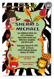 PHOTO Rainforest Zoo Monkey Jungle Baby Shower Invitations