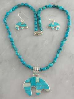 color bear necklace earrings turquoise opal southwest item nk mc188