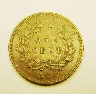 1884 SARAWAK/MALAYSIA ONE CENT COPPER COIN BROOKE RAJAH